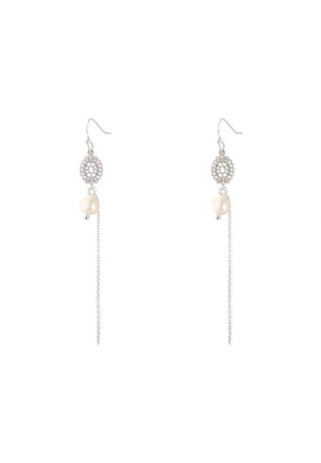 Zilveren oorbellen met kettinkje