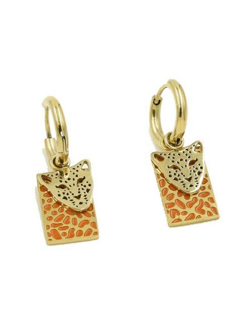 Stainless steel oorbelletje leopard, oranje