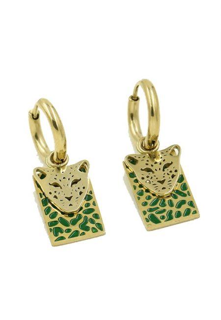 Stainless steel oorbelletje leopard, groen