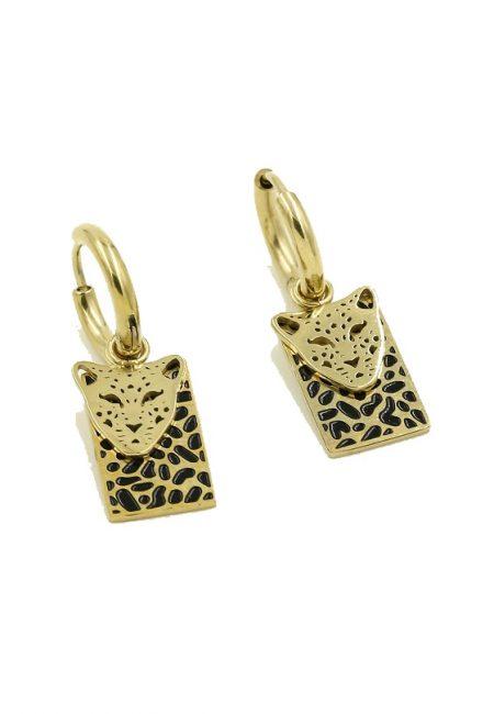 Stainless steel oorbelletje leopard, zwart