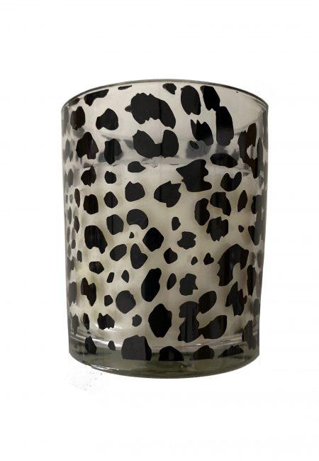 Leopard sfeerlichtje van glas met kaars