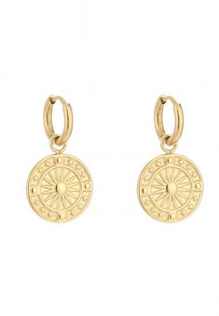 Gouden oorbelletjes met muntje