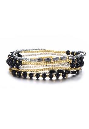 Elastische armbandjes goud en zwart