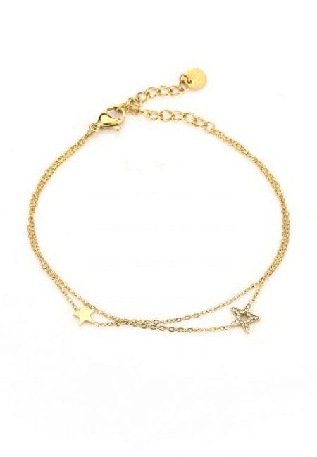 Dubbel goudkleurig armbandje met sterretje