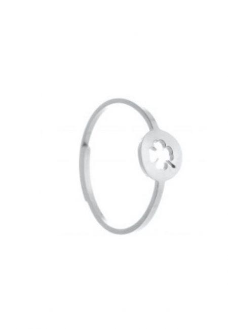 Zilveren verstelbare ring met klavertje