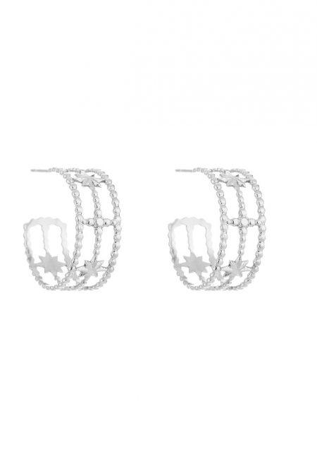 Zilverkleurige oorbelletjes, creolen met sterretjes