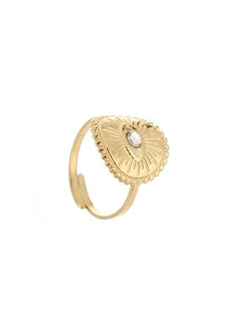 Goudkleurige verstelbare ring met oogje