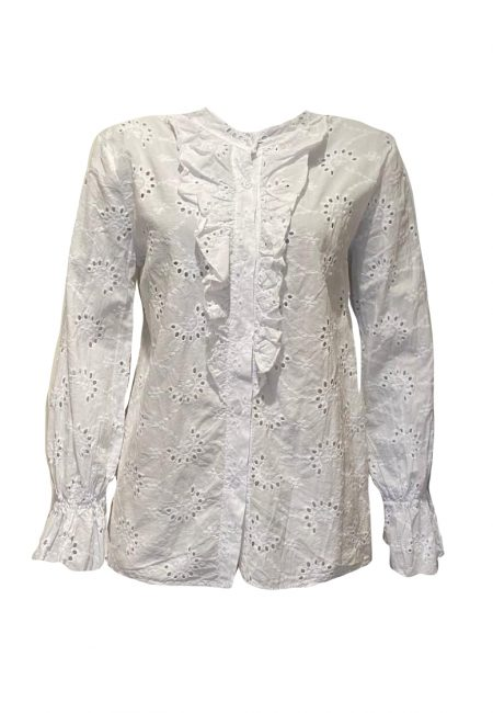 Witte broderie blouse