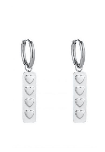 Zilveren oorbellen met hartjes