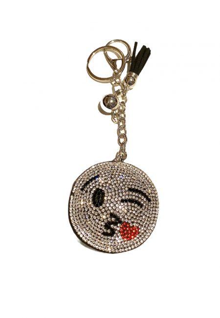 Zilverkleurige sleutelhanger met glitter smile1kopie