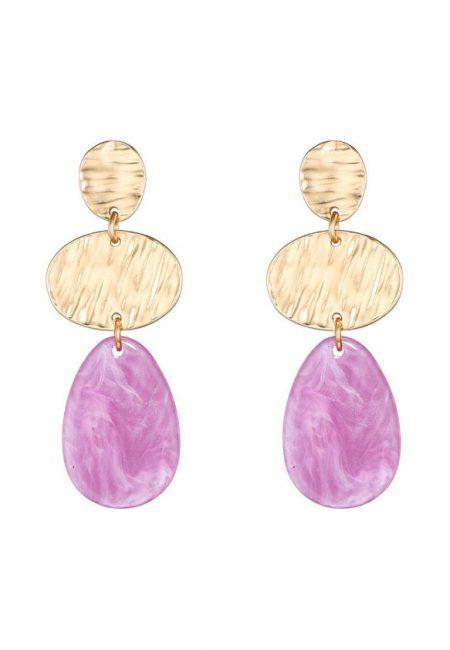 Goudkleurige oorbellen met paarse steen, 5 cm