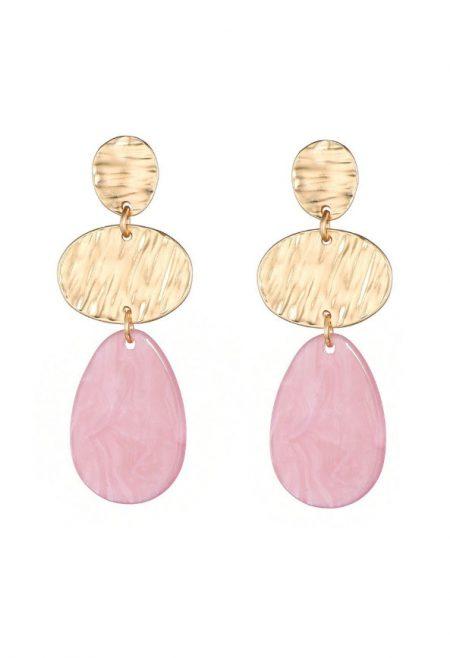 Goudkleurige oorbellen met roze steen, 5 cm
