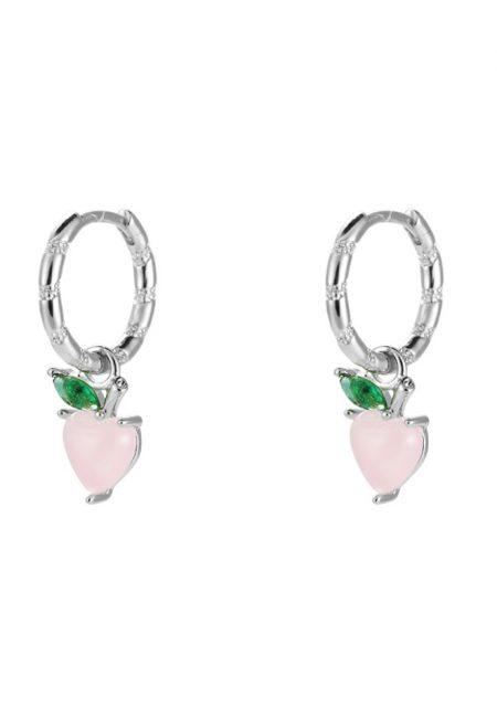 Zilverkleurige oorbelletjes roze