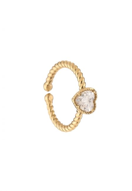goudkleurige verstelbare ring met hartje