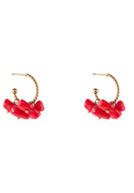 Kleine goudkleurige oorbellen met rood steentje