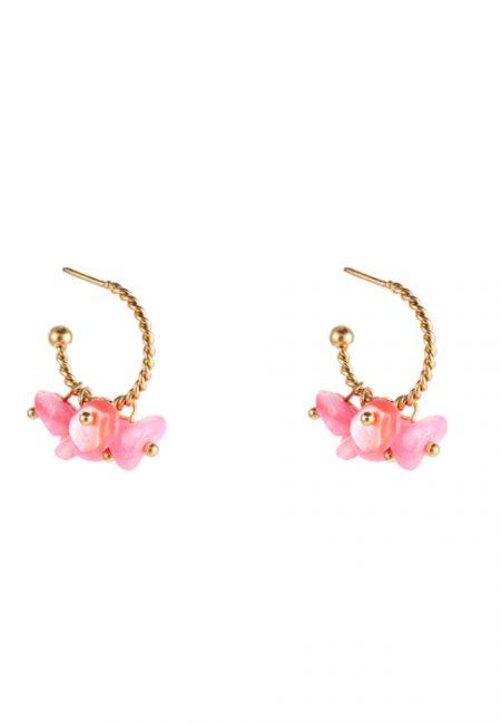 Kleine goudkleurige oorbellen met roze steentje