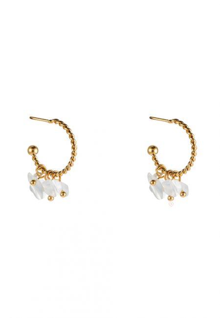 Kleine goudkleurige oorbellen met wit steentje
