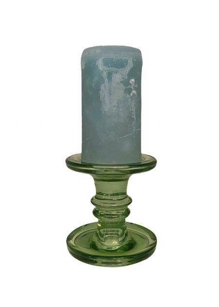 Groene glazen kandelaar