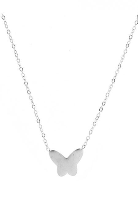 Zilverkleurige ketting met vlinder