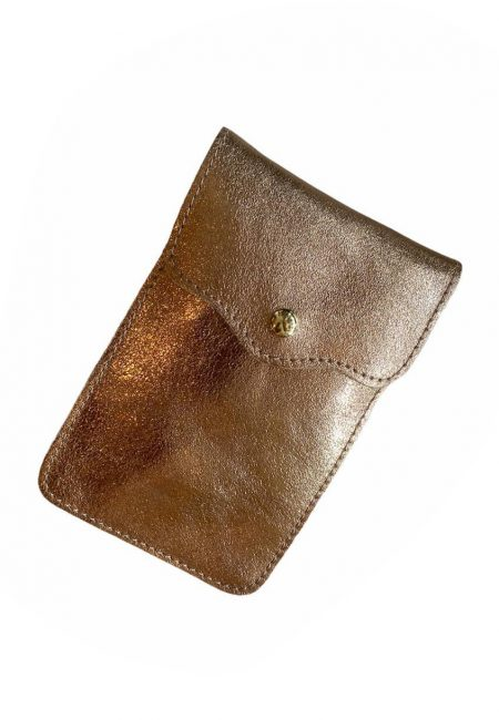 Koperkleurig metallic phone bag