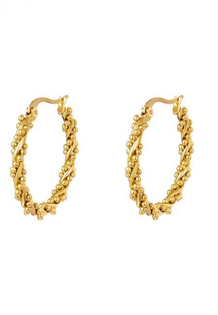 Goudkleurige oorbellen rond