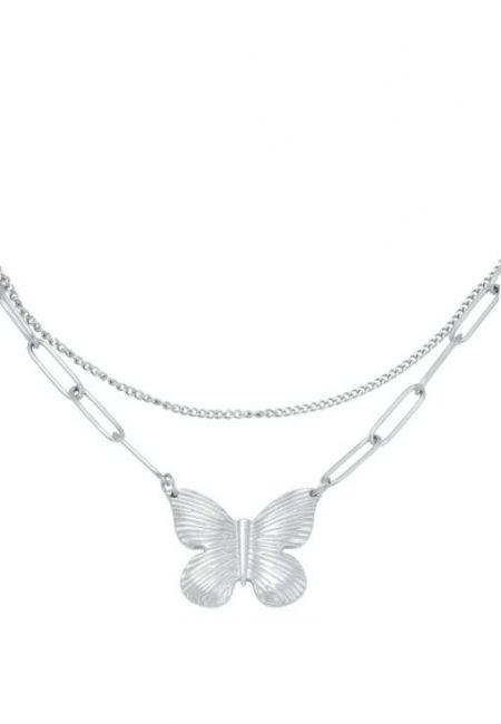 Butterfly ketting zilver