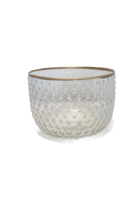 Sfeerlichtje glas met gouden rand