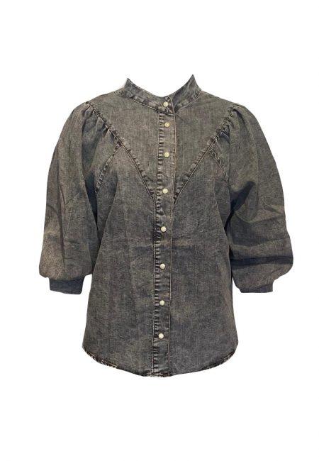 Antraciet vintage wassing jeans blouse
