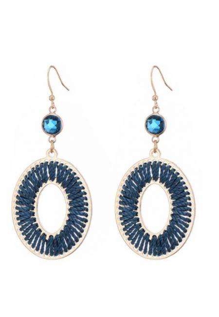 Blauwe velvet look oorbellen