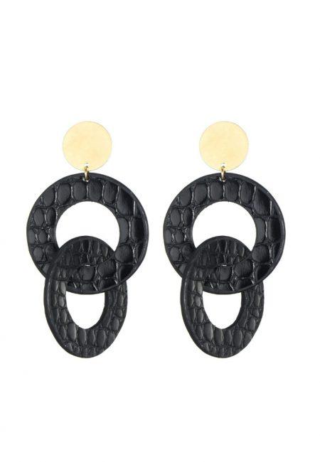 Gouden oorbellen met zwarte leren ringen