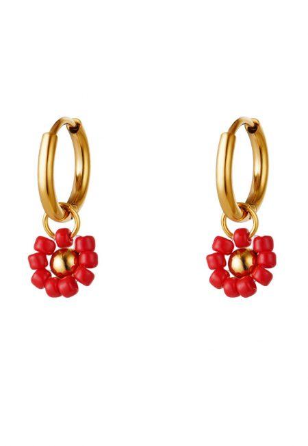 Goudkleurig kleine oorbelletjes rood bloemetjes