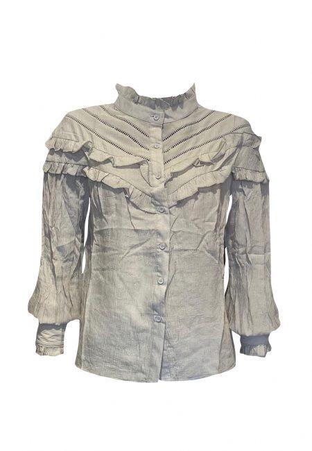Lichtgrijze voile blouse