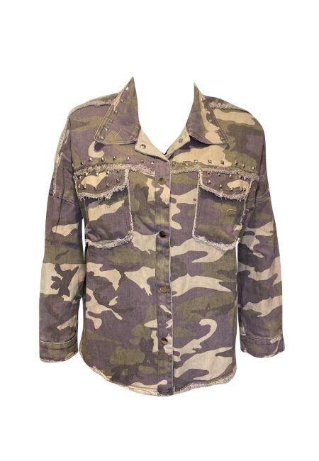 Stoere blouse/jas met camouflage print