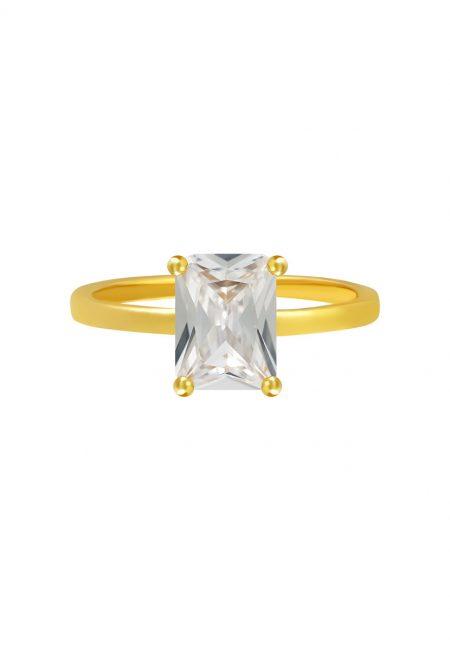 Goudkleurige ring met naturel steentje