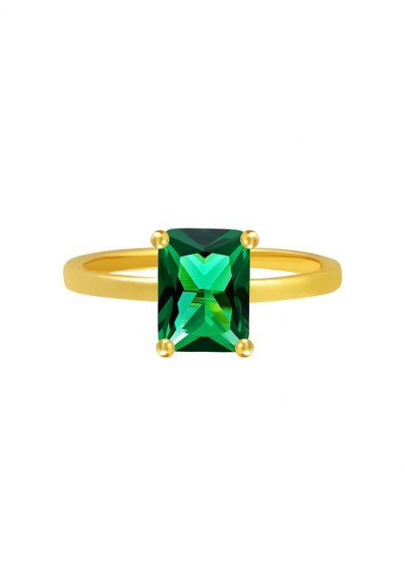 Goudkleurige ring met groen steentje