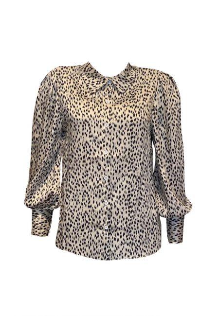 Ecru met zwart glans blouse