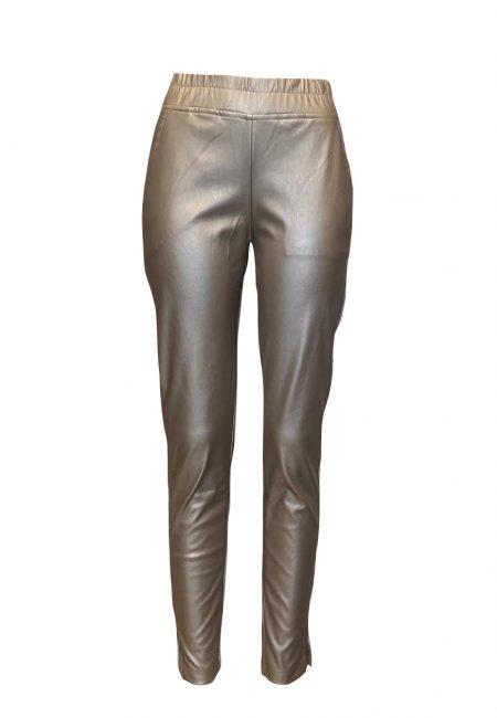 Goud metallic leerlook jogger pants