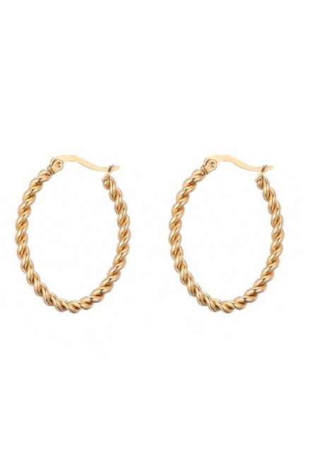 Goudkleurige ovale klasieke oorbellen