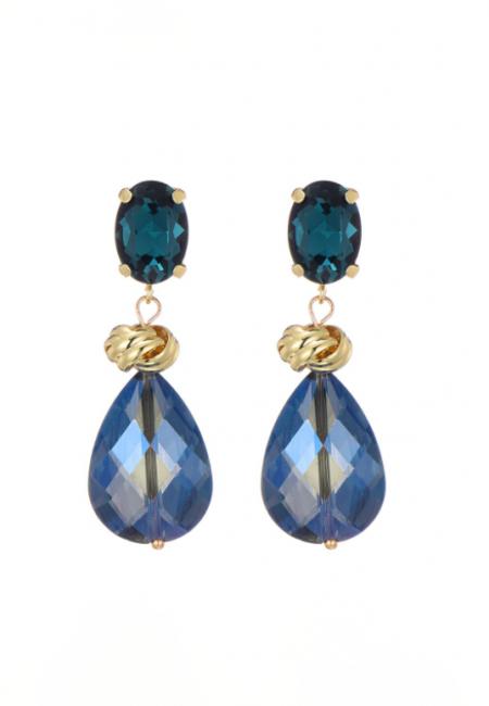 Goudkleurige oorbellen met blauwe kralen/stenen