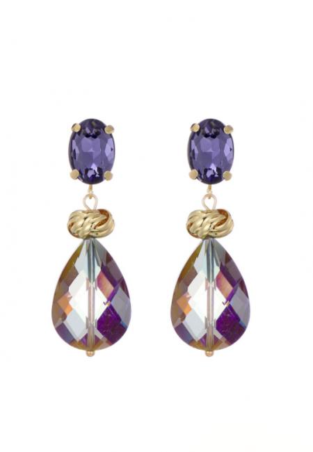 Goudkleurige oorbellen met paarse kralen/stenen