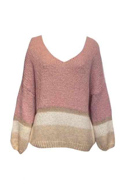 Oversized trui roze met zand