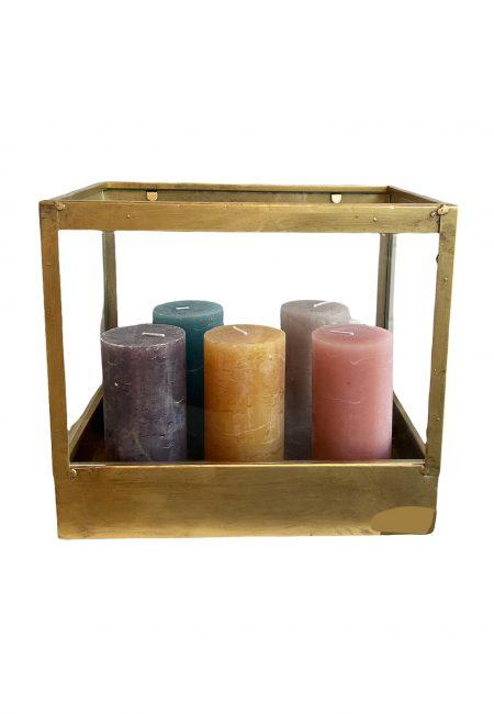 Goudkleurige kaarsen houder van glas