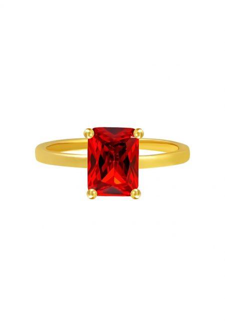 Goudkleurige ring met rood steentje