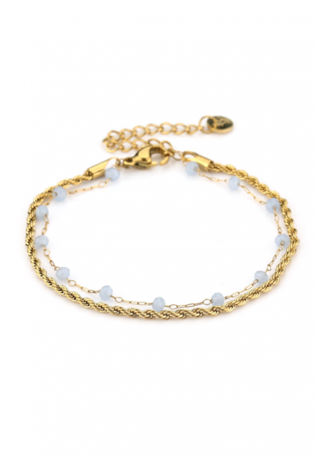 Goudkleurig verstelbaar armbandje met blauwe kraaltjes