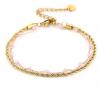 Goudkleurig verstelbaar armbandje met roze kraaltjes
