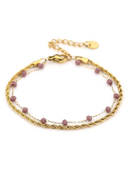 Goudkleurig verstelbaar armbandje met paarse kraaltjes