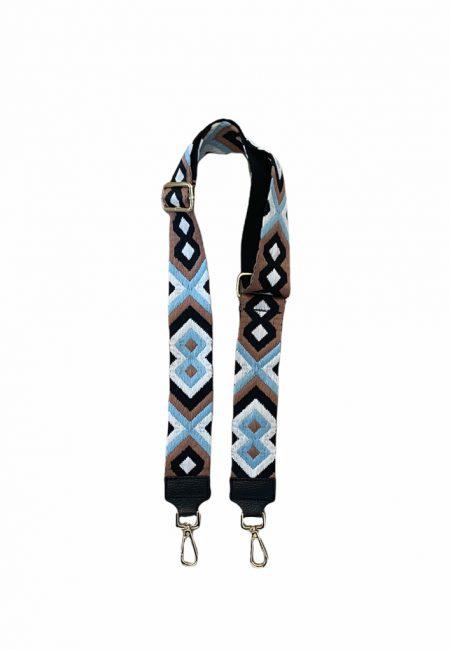 Tas riem lichtblauw met bruin