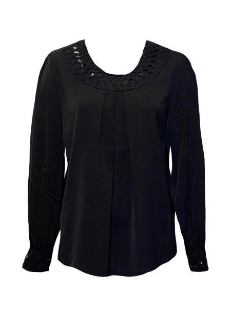 Zwarte blouse met kant accent