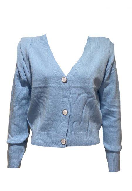 Lichtblauw vestje met schouder detail