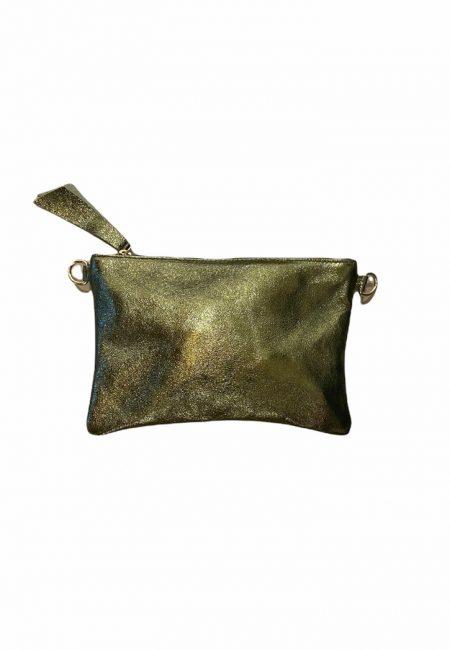 Metallic groene leren tas